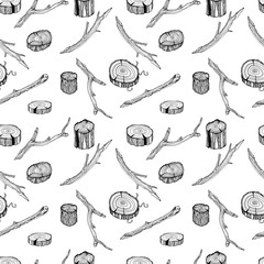 Wood twigs seamless pattern in hand drawn sketch style on white background