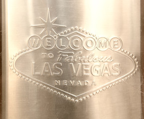 Las Vegas Sign engraved on stainless steel