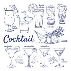 Doodle set of Cocktails - pina colada, mai tai, tequila sunrise, gin tonic, mojito, margarita, cosmopolitan, manhattan, martini, hand-drawn. Vector sketch illustration isolated over white background.