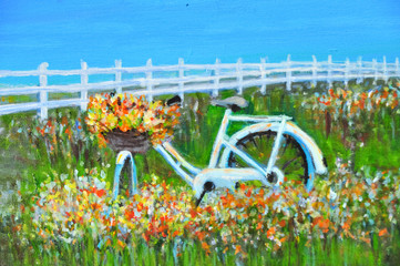 Beautiful landscape painting of withe bicycle with colorful flowers  basket in wildflower field against  blue sky and white picket, Acrylic color painting