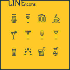 Vector Illustration Of 12 Drinks Icons. Editable Pack Of Juice, Tea Cup, Martini And Other Elements.