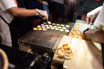 Pancake of Thailand for sale at night markets.