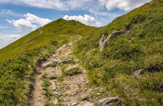 footpath through the mountain ridge