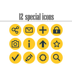 Vector Illustration Of 12 User Icons. Editable Pack Of Confirm, Publish, Pen And Other Elements.