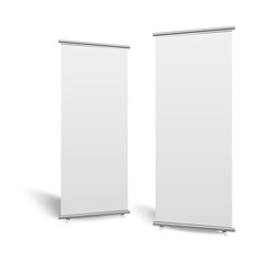 Blank roll-up banner display, isolated with clipping path. Vector