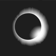 Shadow of the moon. Solar eclipse vector illustration background