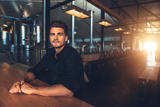 Man at beer tasting room