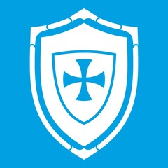 Shield with cross icon white