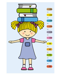 Child wall meter. Girl with books on head