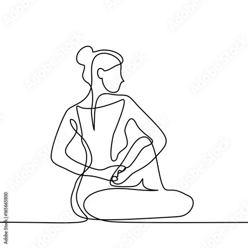 Line Drawing Yoga Pose : Quot continuous line drawing woman doing exercise in yoga