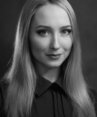Black and white portrait of beautiful young woman.