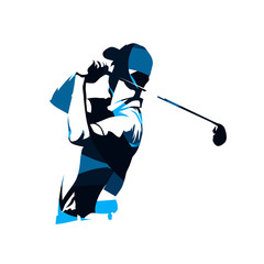 Golf player vector logo, abstract blue silhouette