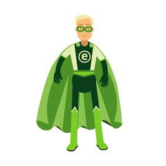 Ecological superhero man in green costume, eco concept vector Illustration