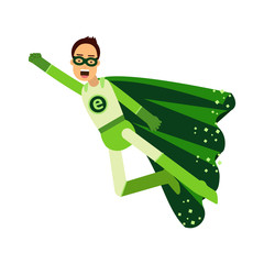 Ecological superhero man in green costume flying through the air in superhero pose with outstretched hand, eco concept vector Illustration