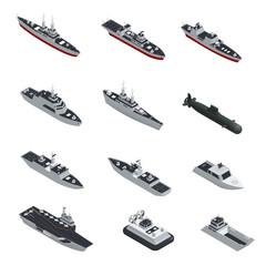 Military Boats Isometric Icon Set