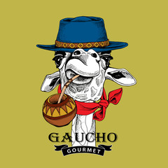 Gaucho Giraffe portrait in a blue hat, in a red cravat and with a cup of a mate tea. Vector illustration.