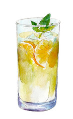 Watercolor glass of lemonade isolated on white background, hand drawn illustration.