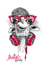 Giraffe in a Knitted hipster hat, a red glasses and with Headphones on the neck. Vector illustration.