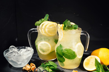 Fresh, organic lemonade drink with delicious lemons, lime and mint. Summer drink details