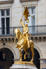 Statue Joan of Arc in Paris near Louvre palace