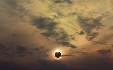 Amazing scientific background - total solar eclipse