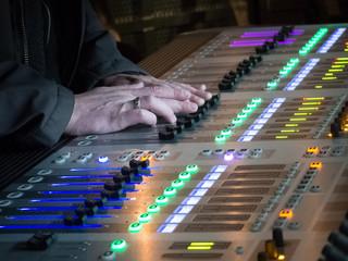 The audio equipment, control panel of digital studio mixer