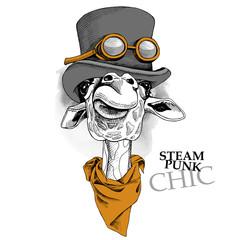 Giraffe portrait in a steampunk hat with cravat. Vector illustration.