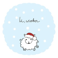"Cute sheep in a cap of Santa Claus and the words: ""Hi, winter"""