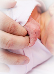 Newborn baby holding parents fingers.