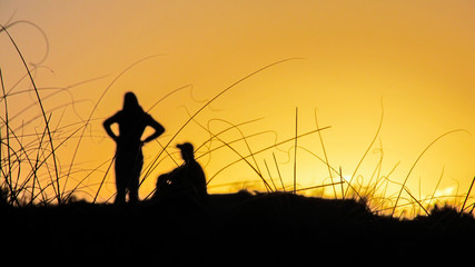 Silhouette of a man, woman and dog against the sunset