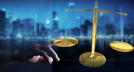 Businesswoman with justice weighing scales 3D rendering