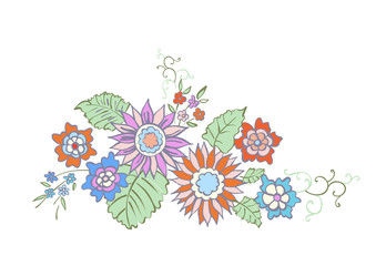 Illustration of floral background hand drawn. Design in oriental style for banner, poster, card, invitation and scrapbook.