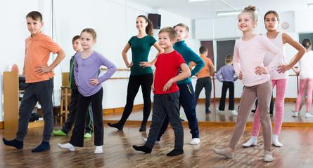 Friendly children studying contemp dance