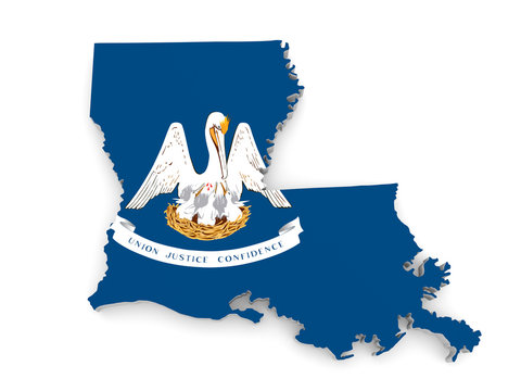 Geographic border map and flag of Louisiana state isolated on a white background, 3D rendering