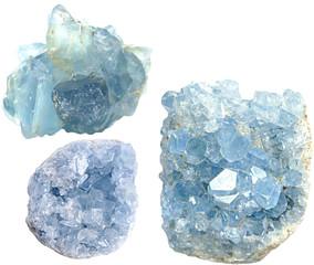 Set of Celestine crystals isolated  on white background. Collage celestine stone