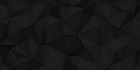Low polygon shapes, black background, dark crystals, triangles mosaic, creative origami wallpaper, templates vector design