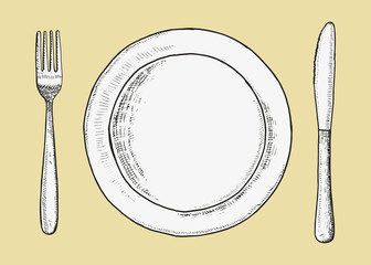 Cutlery fork with knife and plate vector. Sketch hand drawing. illustration
