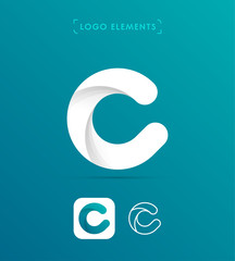 Abstract origami letter C logo. Material design style