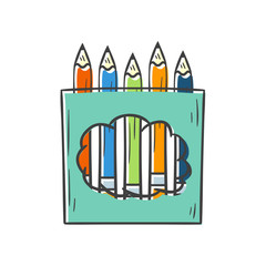 Vector cartoon isolated color pencil box