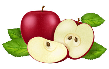 Red apple, sliced and whole. Vector illustration.