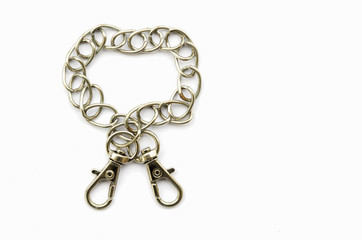 Stainless steel chain isolated on white background.