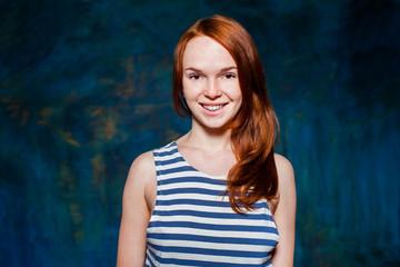 smiling redhead woman