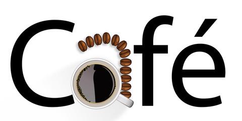 café - symbole - tasse - grain de café - logo - concept