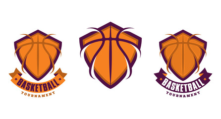 Set of basketball sport icons, logotypes or emblems