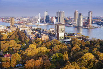 Aluminium Prints Rotterdam Aerial panorama of Rotterdam
