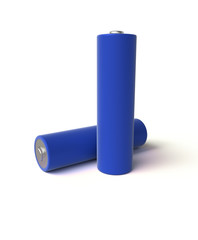 3D realistic render of AA blue alkaline battery on a white background, isolated, with shadow
