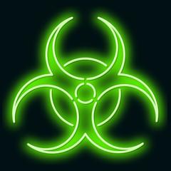 Neon sign of biological danger. Green sign on a black background. Vector illustration