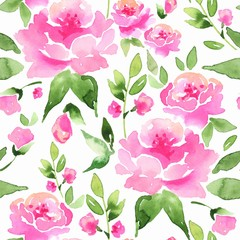 Floral seamless pattern. Watercolor background with pink flowers 11