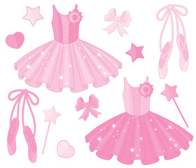 Vector Set with Ballet Shoes and Tutu Dresses