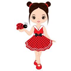 Vector Cute Little Girl with Ladybug